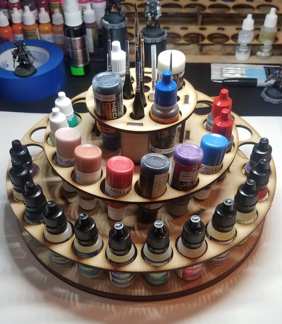 MakerHorde lazy susan style miniature paint rack