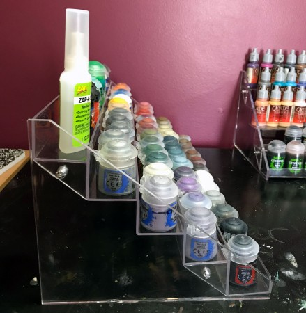 Side view of acrylic paint rack